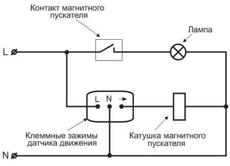 Схема подключение датчика притуствия через магнитный пускатель.